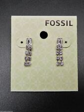 Fossil Crystal Earrings Silvertone Studs New! NWT