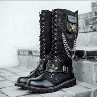 Punk Metal Rivet Knee High Boots Gothic Military Lace Up Mens Knight Biker Boots