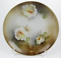 """Vintage RS Germany Decorative Floral Roses Gold Rimmed 11 1/2"""" China Plate"""