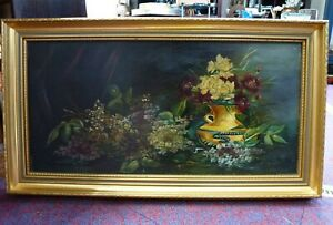 Vintage Retro Framed Oil Painting on canvas flowers still life a/f 1950 1960