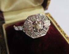 Superbe bague ancienne Art Déco - Diamants perle - Or blanc 18 carats 750