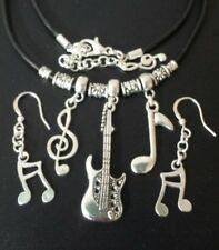 Guitar Musical Note Necklace & Earrings Rubber Cord Free P&P Gift Ready!