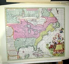 """Vintage 1960's Reproduction """"1735 North America Territory"""" Map by Seutter"""