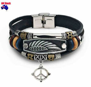 Multi Layer Angle Wings Vintage Mens Dads Leather Bracelet Anchor Rock WristBand