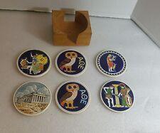 Minerva AOE 6 Hand Made By Smaltotechiki Ceramik Greece Coasters owl of Athena