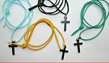 Black faux suade necklace hematite/gunmetal pendant cross