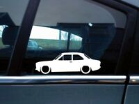 x2 Lowered car silhouette stickers for Ford Escort Mk1 , 2-door | Classic, Retro