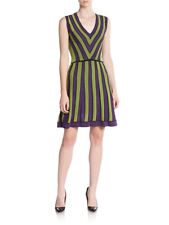 A754	M MISSONI DRESS PURPLE GREEN SIZE 8 EC