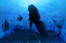 Framed Print - Mermaid Sitting on the Floor of the Ocean (Picture Poster Sea Art
