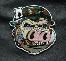 SMOKING HOG PIG HEAD PORK EATING CRUSADER MORALE WILD HOG ACE CARD HOOK PATCH