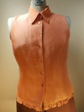 Ice Clothing WOMENS Blouse ORANGE Business Casual Button Down Top SMALL