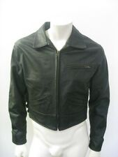JOHNSON LEATHERS Vintage Style Black Leather Motorcycle Jacket USA MADE Size MED