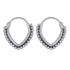 Handmade hoop silver earrings 925 sterling V shaped dotted dainty  12mm x 14mm