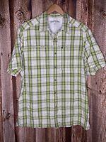 Eddie Bauer Mens Outdoors Fishing Shirt Long Sleeve Large Nylon Plaid Green