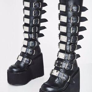 Demonia Womens Swing-815 Platform Boots Black Vegan Goth Punk Wedge Size 3uk
