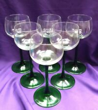 Six Vintage Luminarc Green Stem 5 oz Wine Glasses