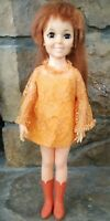 VTG 1968/69 Ideal CRISSY Doll Original Orange Dress Lace & Tall Go Go Boots 18""