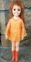 "VTG 1968/69 Ideal CRISSY Doll Original Orange Dress Lace & Tall Go Go Boots 18"""