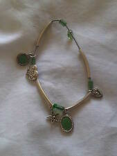 Vintage Style Elasticated Bracelet with Love Hearts, and Star in Green. (J206)