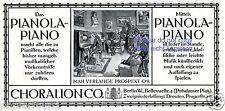 Pianola Piano Choralion Berlin Reklame von 1910 Selbstspielendes Klavier +