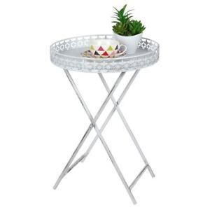 Shabby Chic Beistelltisch mit Tablett - Antik Sofatisch Metall Blumen Tisch weiß