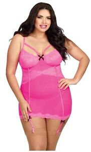 Dreamgirl Hot Pink Strappy Stretch Lace Underwire Lingerie Plus Size 1X Queen