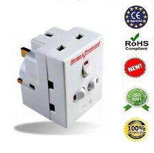 2X 3 way switched surge protected 13A adaptor 3 UK mains plug with NEON switched