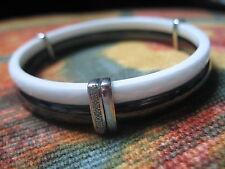 Bracelet jonc céramique noir blanc  Guy Laroche or  blanc 18 carats + diamants