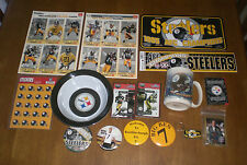 STEELERS LARGE MEMORABILIA COLLECTION - PINS - MUG - MAGNETS - STICKERS