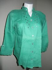 ❤️ ECOLOGIE Green 100% Linen Button Front Button Accent Tunic Shirt Blouse Top S