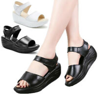 Womens Wedge Platform Sandals Ladies Ankle Strap Peep Toe Summer Slingback Shoes