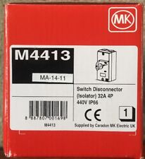 Mk 32 Amp Switch Disconnector Isolator 32A 4 Pole 415v IP66