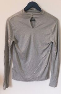 H&M Grey Woman Top in Viscose Jersey W/ Polo Neck & Buttons At The Back Size S-M