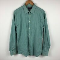 Country Road Mens Button Up Shirt Size Large Slim Fit Green Check Long Sleeve