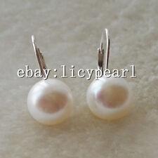 Hebel zurück Ohrringe, 10-11mm weiß Süßwasser perlen Ohrringe