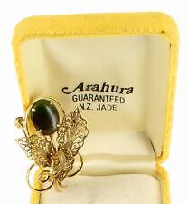 Vintage Arahura Pounamu Greenstone Gem NZ Nephrite Jade Filigree Flower Pin 1.75