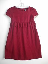 NEW ZARA KIDS GIRLS BURGUNDY HOLIDAY  DRESS (B29) SZ 7 - 8