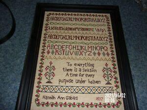 vintage framed embroidered sampler  alphabet 1837