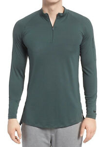 Nike Pro Fitted Utility Dry Tech Sport Top, 1/4 Zip, AA1589 Green Black NWT