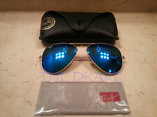 New Ray Ban 62mm Flash lenses Blue mirror Aviator Sunglasses Large size