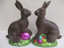"2 pc set Easter Faux Classic Chocolate Bunny Rabbit Decoration 5.5"""