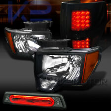 09-14 F150 Headlights+Glossy Black LED Tail Lamps+Smoke LED 3rd Brake