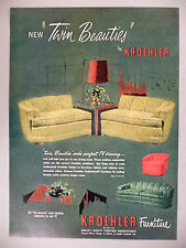 Kroehler Furniture PRINT AD - 1951 ~~ Twin Beauties Couch, Sofa