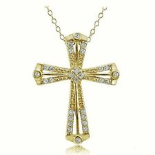 Yellow Gold Flashed Simulated Fine Necklaces & Pendants