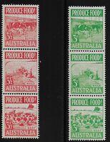 Australia Scott #252a & 255a, Strips of 3 1953 Complete Set FVF MNH