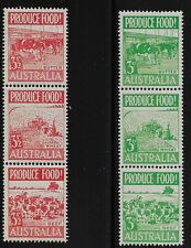 Australia Scott #252a & 255a, Strips of 3 1953 Complete Set FVF MNH