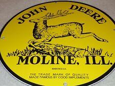 "VINTAGE JOHN DEERE TRACTORS MOLINE IL11 3/4"" PORCELAIN METAL GASOLINE & OIL SIGN"