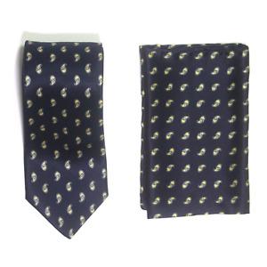 Mens Brioni 100% Silk Indigo Blue Paisley Neck Tie and Handkerchief Set