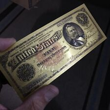 💥Amazing 💥<1886 Silver Certificate> 24K Gold Grant $5 Rep. *Banknote*