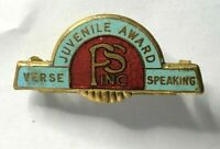 Vintage Public Speaking Verse Speakers juvenile award Enamel Badge